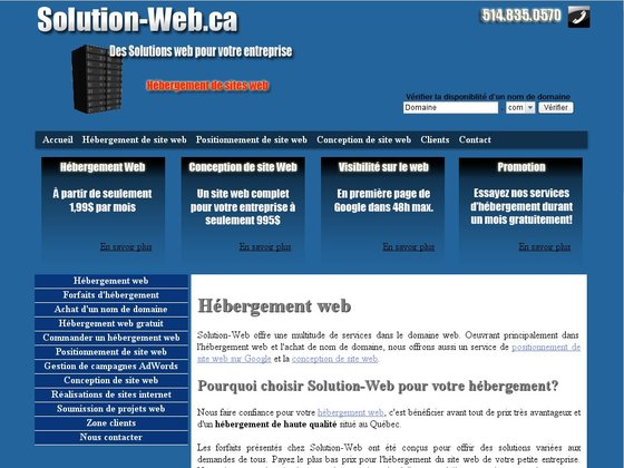 Solution-Web, hébergement de sites internet au Québec (Canada)