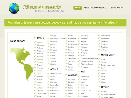 Guide du climat : le climat de vos destinations favorites